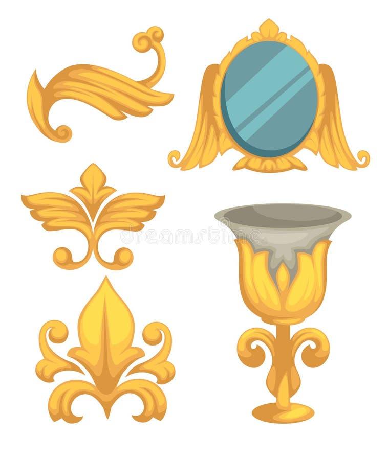 Барочные зеркало и кубок оформления золота эпохы изолировали объекты иллюстрация штока