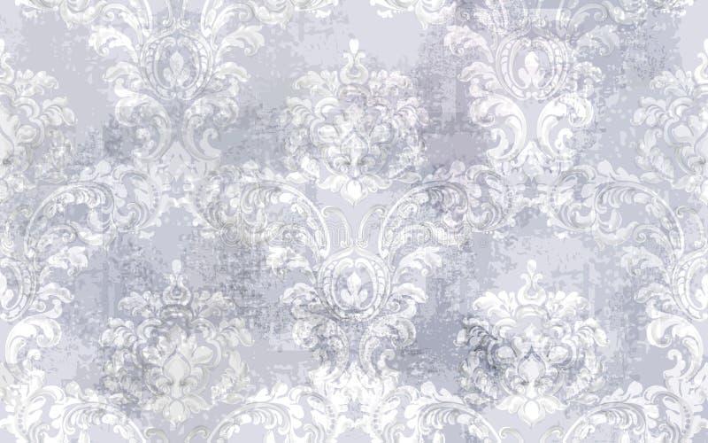 Барочный вектор картины текстуры Украшение флористического орнамента Дизайн выгравированный викторианец ретро Винтажная ткань gru иллюстрация штока