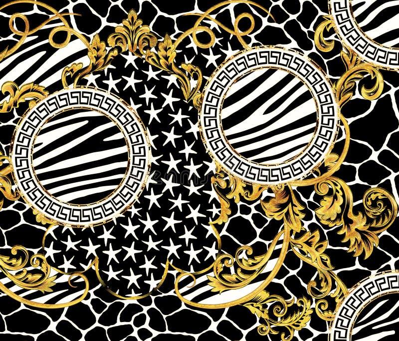 Барочный дизайн картины с графической кожей жирафа зебры и звезды конструируют иллюстрация штока