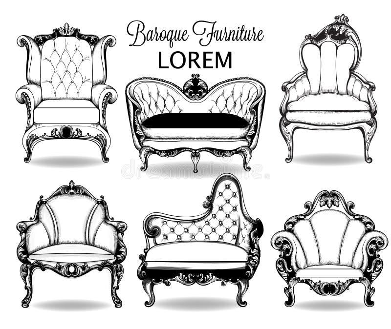 Барочный комплект кресла и софы Структура вектора французская роскошная богатая затейливая Викторианское королевское оформление с иллюстрация вектора