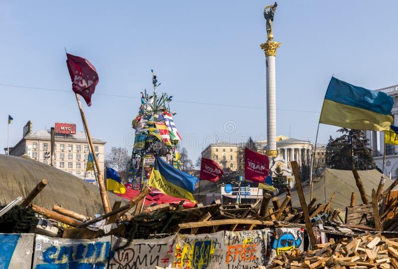 Баррикады Maidan Киев стоковая фотография rf