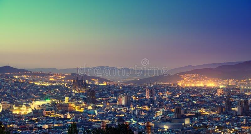Барселона во времени захода солнца стоковое изображение rf