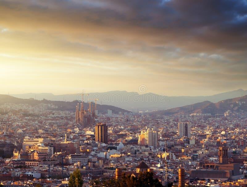 Барселона во времени захода солнца стоковая фотография rf