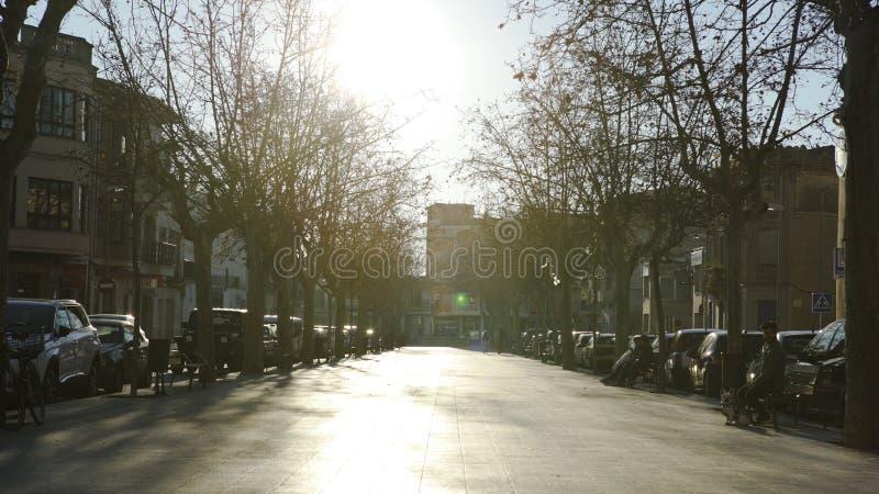 Барселона, Испания - май 2018: Живой переулок парка с домами r Взгляд жилого района с переулком асфальта, деревьями стоковые фотографии rf