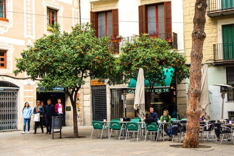 Барселона, Испания - 15-ое марта 2019: Люди идя и сидя в кафе вниз 2 мандарин и апельсиновые деревья Старое красивое стоковые фото