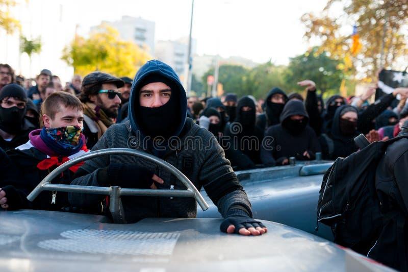Барселона, Испания - 21 decemer 2018: портрет молодых каталонских independists, вызвал Cdr, столкновение с полицией во время встр стоковые изображения