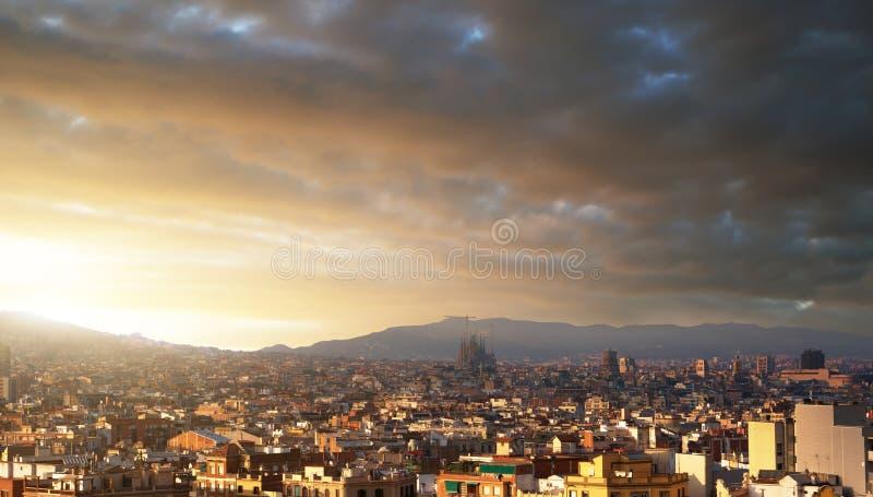 Барселона во времени захода солнца стоковое фото rf