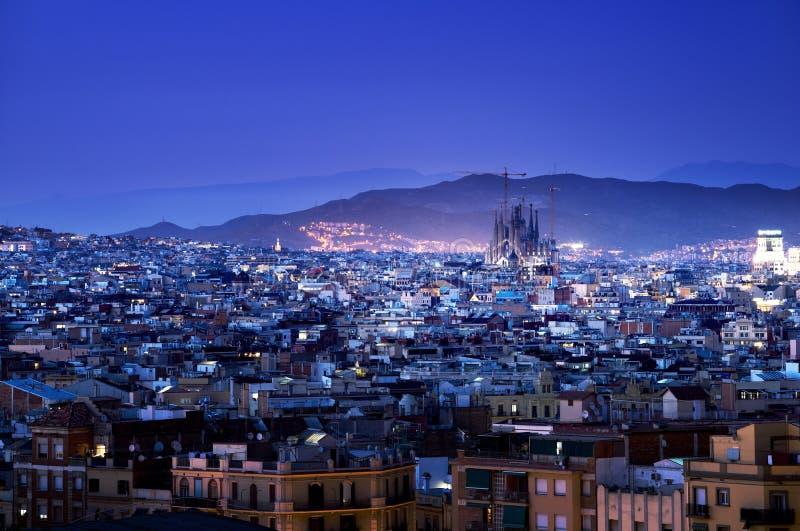 Барселона во времени захода солнца стоковая фотография