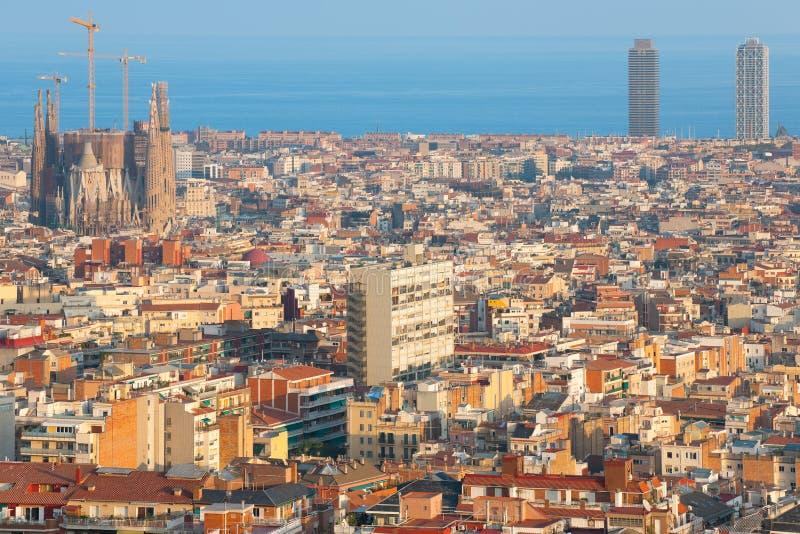 Барселона на времени захода солнца стоковая фотография
