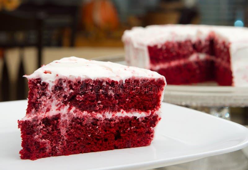 бархат красного цвета торта стоковые изображения rf