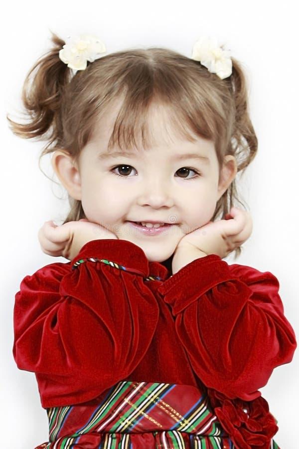 бархат малыша девушки платья красный стоковое изображение rf