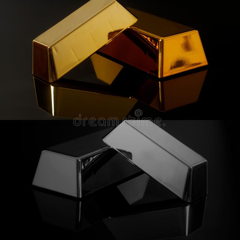Бары и серебр миллиарда золота на черной предпосылке стоковая фотография rf