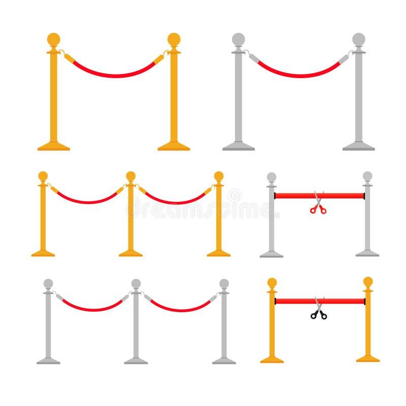 Барьеры веревочки стойки установили I иллюстрация вектора