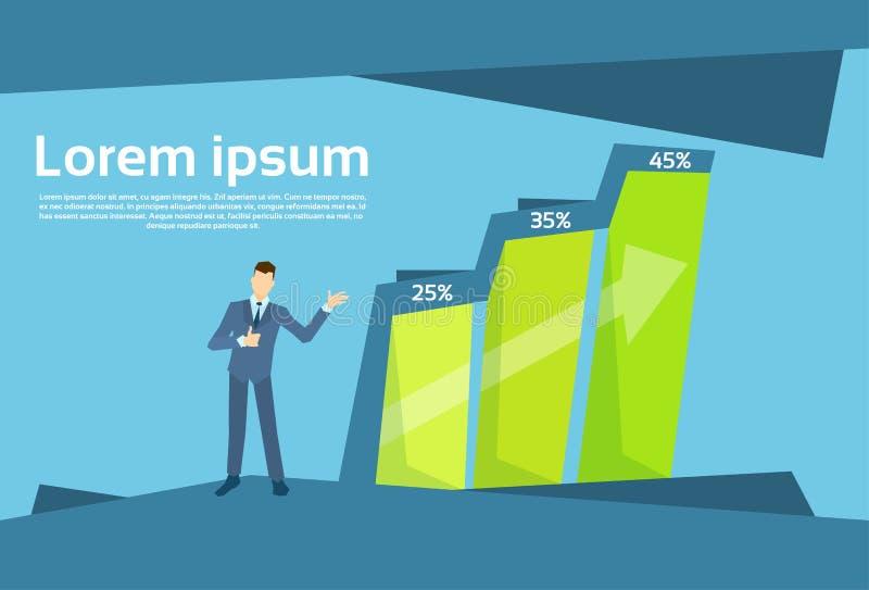 Бар бизнесмена финансовый растя вверх диаграмма роста концепции успеха иллюстрация штока