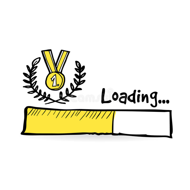 Бар загрузки с золотым медалью, лавровым венком Победитель, концепция конкуренции Олимпийские Игры, чемпионат белизна трактора ик иллюстрация вектора