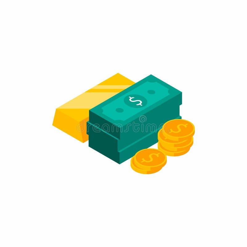 Бар золота, доллары пачек, денег, доллара, кучи денег, монетки, равновел иллюстрация штока