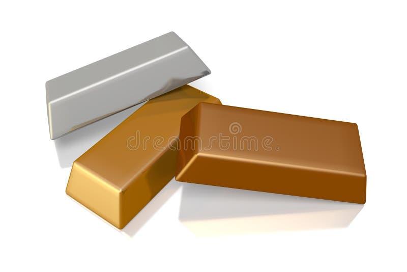 Бар золота, рост, золотой, деньги, банк, 3D, стог, сокровище, серебр, золото, бронза иллюстрация штока
