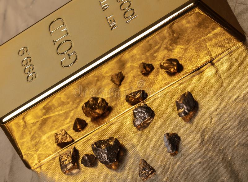 Бар конца-вверх золота стоковое фото rf