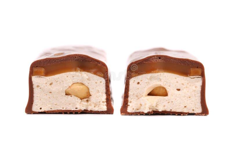 Бар кусков шоколада с заполнять. стоковое фото rf