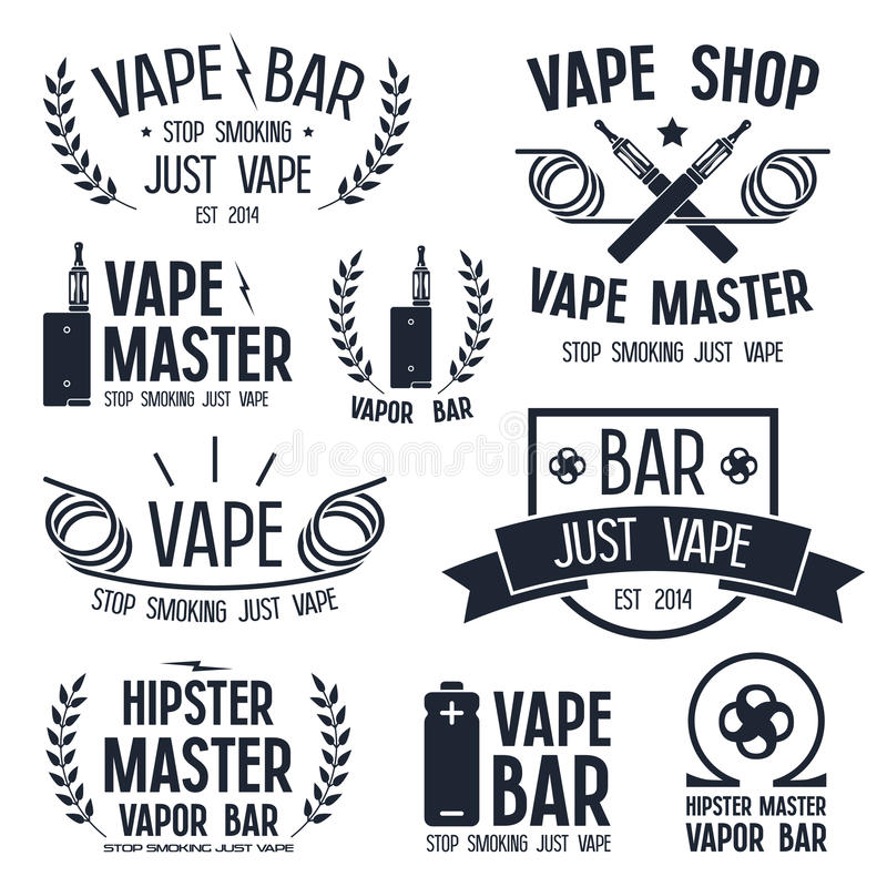 Бар пара и магазин Vape логотип иллюстрация штока