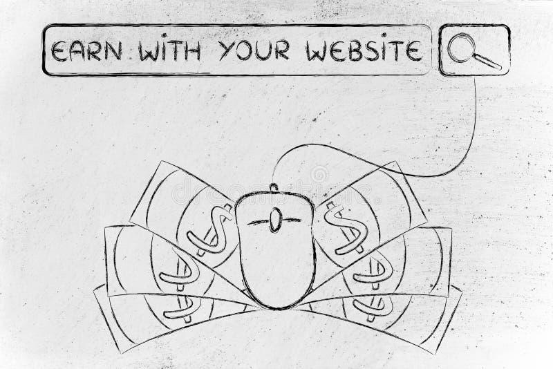 Бар поиска с мышью & наличными деньгами, с текстом зарабатывает с вашим вебсайтом стоковая фотография
