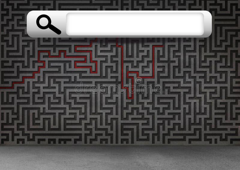 Бар поиска с предпосылкой головоломки лабиринта бесплатная иллюстрация