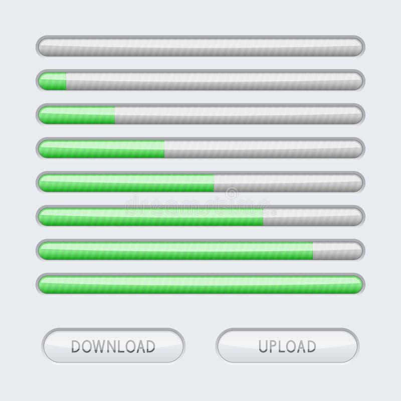 Бар прогресса Серая линия с зеленым уровнем загрузки иллюстрация штока