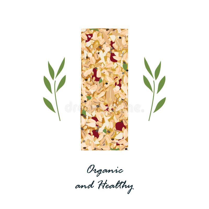 Бар Granola с льном, sezame, и семенами подсолнуха и при высушенные плодоовощи изолированные на белизне Вектор бара энергии, орга иллюстрация штока