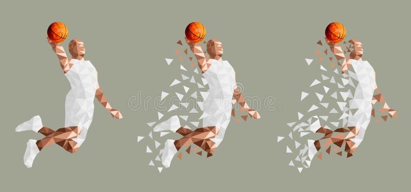 Баскетболист скача высокий вектор иллюстрация штока