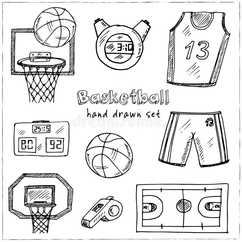 баскетбол Нарисованный рукой комплект doodle эскизы Иллюстрация вектора для продукта дизайна и пакетов иллюстрация вектора