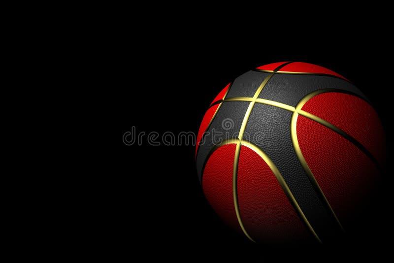 Баскетбол изолированный на черной предпосылке с цветами красных, черных и золота стоковая фотография