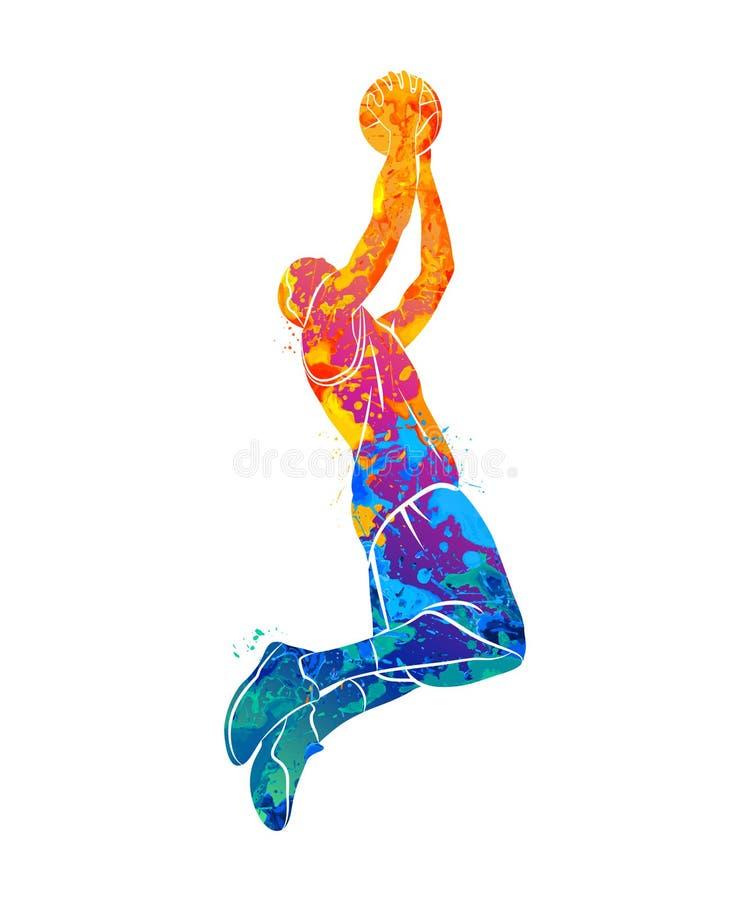 Баскетболист, шарик бесплатная иллюстрация