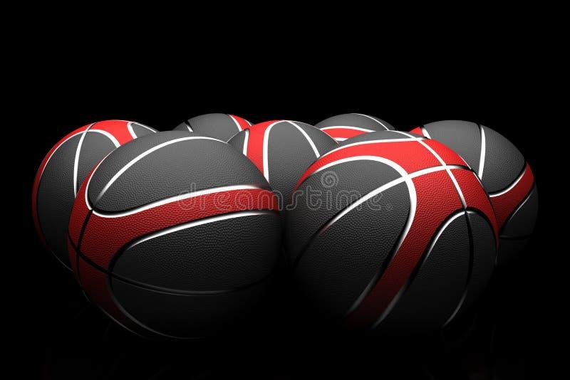 Баскетболы изолированные на черной предпосылке стоковые изображения rf