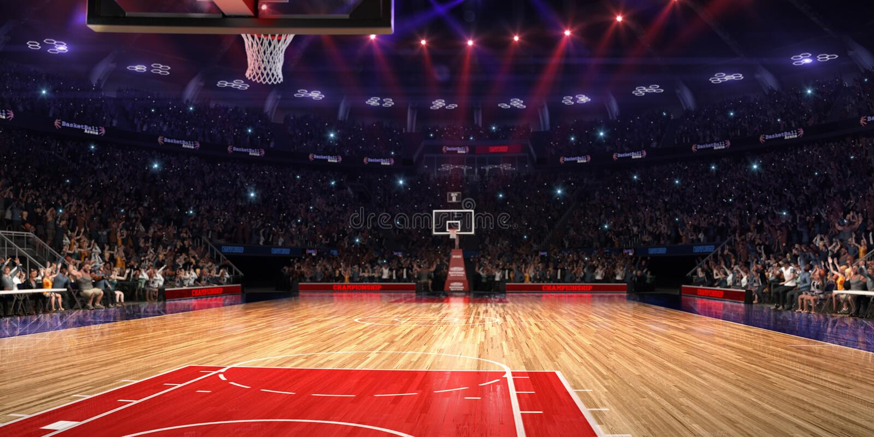 Баскетбольная площадка с вентилятором людей стадион спорта дождя арены Photoreal 3d представляет предпосылку blured в рискованном стоковая фотография