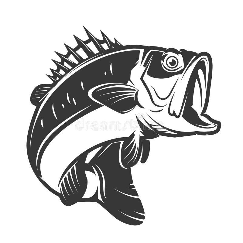 басовые значки рыб изолированные на белой предпосылке Элемент fo дизайна стоковые изображения