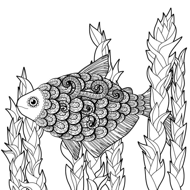 Басовые рыбы с высокими деталями иллюстрация вектора