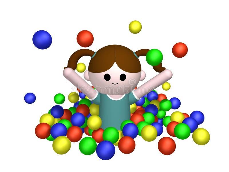 бассеин девушки шарика бесплатная иллюстрация