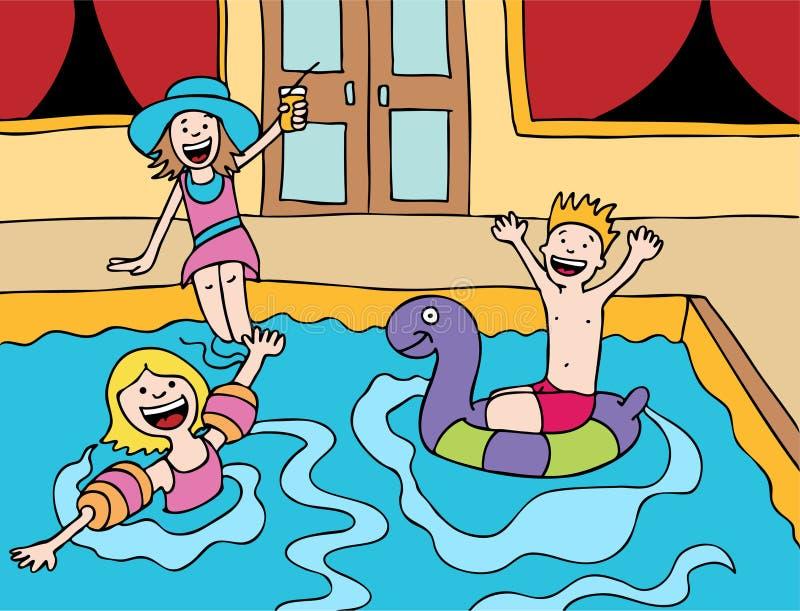 бассеин s партии детей иллюстрация вектора