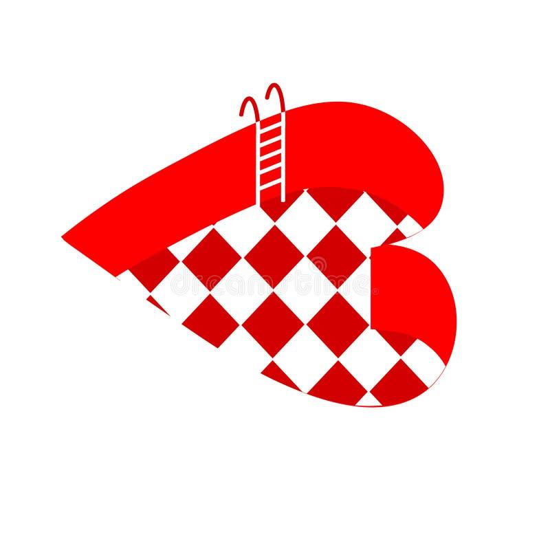 бассеин Vector иллюстрация бассейна в форме сердца иллюстрация вектора
