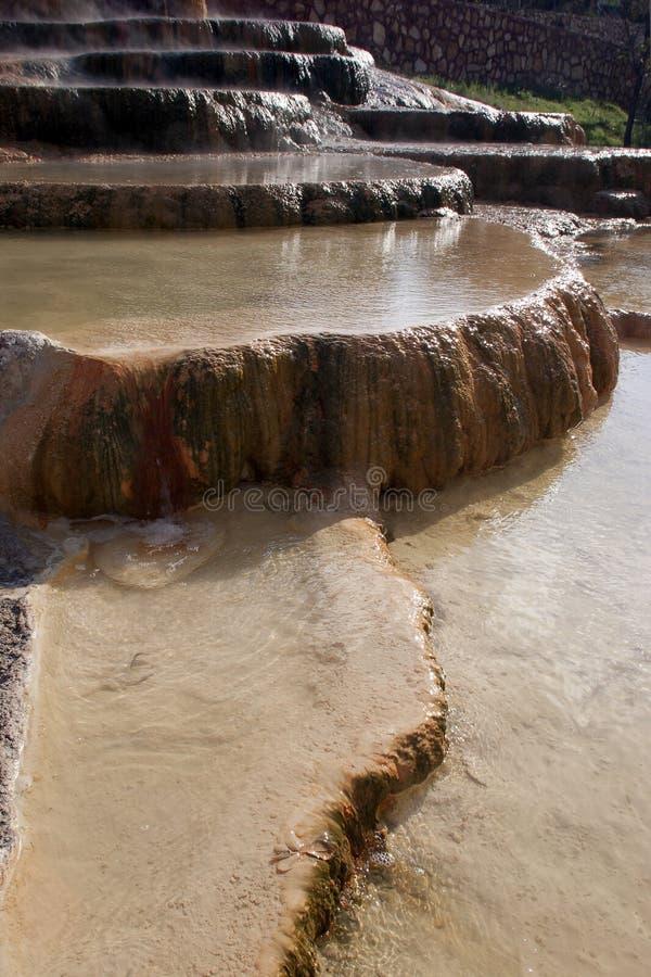 Бассейны травертина Karahayit горячей минеральной воды естественные в Pamukkal стоковые фото