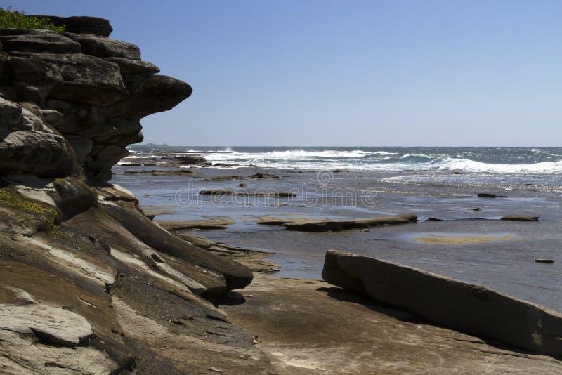 Бассейны утеса на headland, Caloundra стоковые фотографии rf