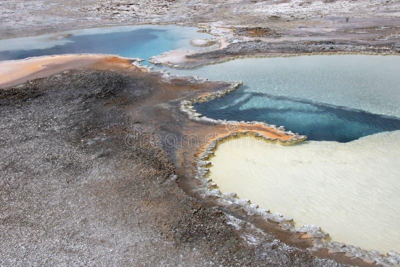 Бассейн дуплета, двойной горячий источник бассейна в верхнем тазе гейзера в национальном парке Йеллоустона, США стоковая фотография rf