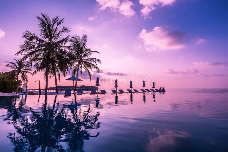 Бассейн и кафе на тропическом острове Мальдивов - предпосылке перемещения природы стоковая фотография