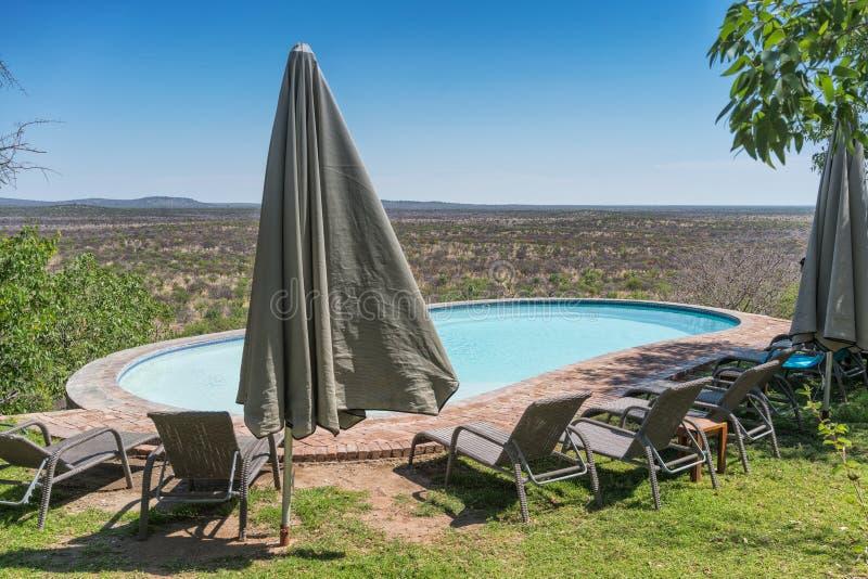 Бассейн при стулья обозревая намибийскую африканскую саванну стоковая фотография