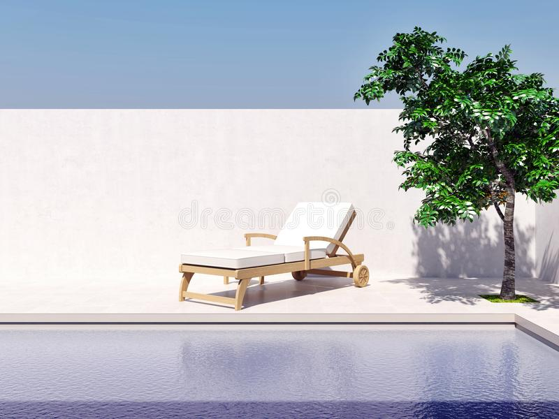 Бассейн с компьютером дерева солнца голубого неба произвел изображение 3d иллюстрация штока