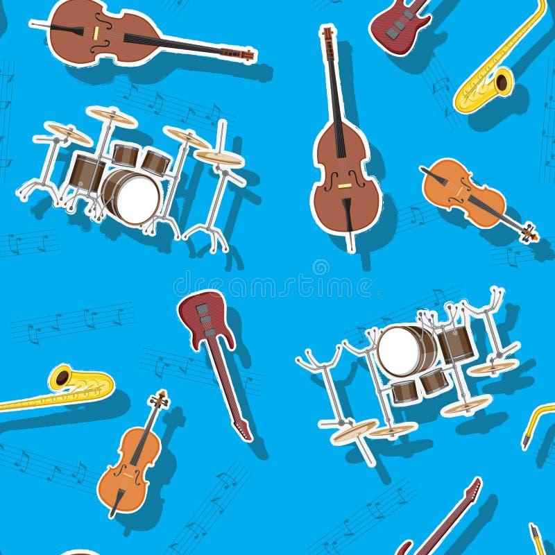 Бас абстрактной безшовной виолончели барабанчика саксофона гитары музыкальных инструментов картины двойной, изображение иллюстрация штока