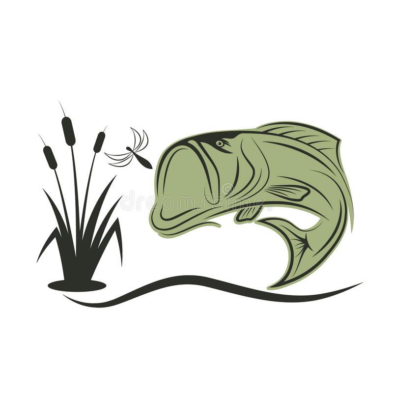 бас для рыб dragonfly иллюстрация штока