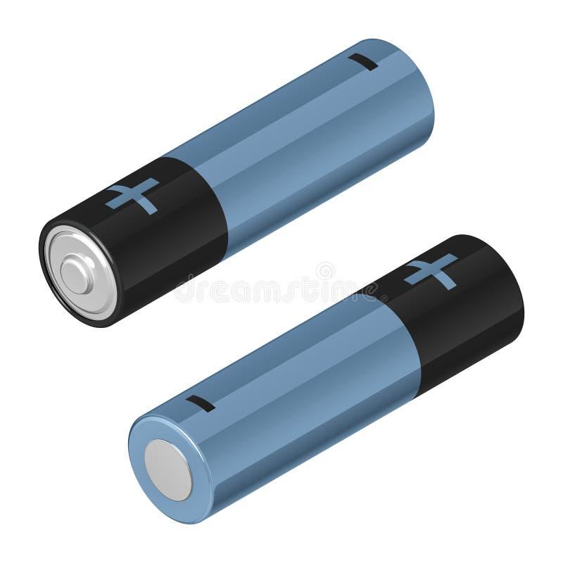 Батареи ÑŒTwo AA '‡ Ð°Ñ ÐŸÐΜÑ, черный и голубой, в равновеликом изолиров бесплатная иллюстрация