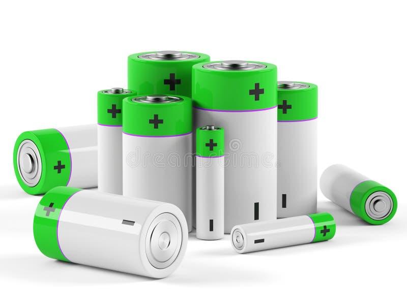 Батареи на белой предпосылке стоковая фотография rf