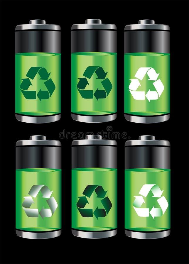 батареи рециркулируют иллюстрация штока